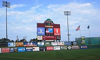 The Diamond (Richmond, Virginia) - Outfield and scoreboard