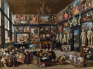 Art museum - The Gallery of Cornelis van der Geest, Willem van Haecht, 1628. A private picture gallery as an early precursor of the modern museum.