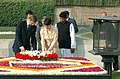 The Hungarian Prime Minister, Mr. Ferenc Gyurcsany and his wife Dr. Klara Dobrev laying wreath at the Samadhi of Mahatma Gandhi at Rajghat, in Delhi on January 18, 2008.jpg