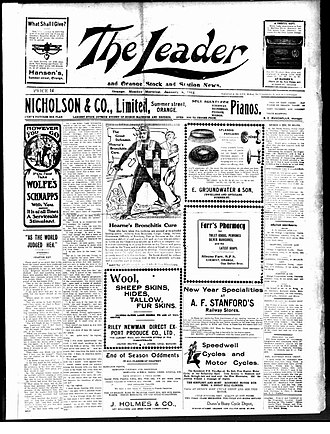 The Leader (Orange, NSW) - Front page of The Leader, 8 January 1912