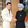 The Prime Minister, Dr. Manmohan Singh meeting the King of Bhutan, HM Jigme Khesar Namgyel Wangchuck, on the sidelines of SAARC Summit, in Bhutan on April 29, 2010.jpg