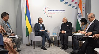 Prime Minister Pravind Jugnauth with Indian Prime Minister Narendra Modi, 19 April 2018 The Prime Minister, Shri Narendra Modi meeting the Prime Minister of Mauritius, Mr. Pravind Jugnauth, on the sidelines of CHOGM 2018, in London on April 19, 2018 (2).JPG