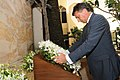 The Prime Minister of the Republic of Slovenia, Mr. Borut Pahor laying wreath, at the memorial for victims of 2611 terror attacks, at Hotel Taj Mahal, in Mumbai on June 13, 2011.jpg