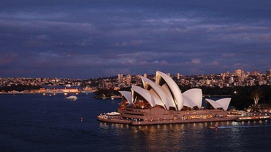Sydney Opera House and Harbour Bridge at Dusk, Australia скачать