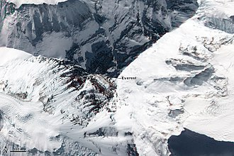 Mount Everest - Top down view showing the location of the summit, and its three main faces/sides