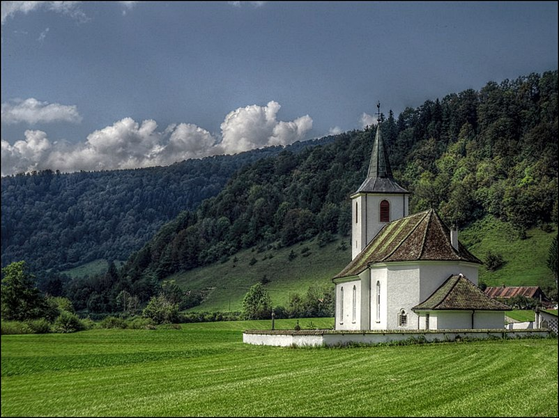 The church of La Motte in the Doubs Valley.