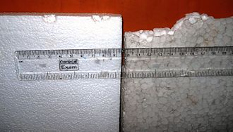 Styrofoam - In this photo, EPS is pictured. Thermocol slabs made of expanded polystyrene (EPS) beads. The one on the left is from a packing box. The one on the right is used for crafts. It has a corky, papery texture and is used for stage decoration, exhibition models, and sometimes as a cheap alternative to Shola (Aeschynomene aspera) stems for artwork.