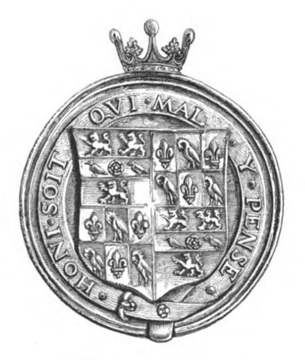 Portrait medal made for Thomas Cromwell in 1538. Reverse: armorial shield of Cromwell, being two coats quarterly within the Garter. Thomas Cromwell medal, 1538 side 2.png