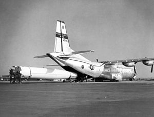 Project Emily - A Thor missile is loaded onto a Douglas C-133 Cargomaster transport aircraft
