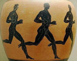 Ergoteles of Himera - Ancient runners from an Attic black-figured Panathenaic prize amphora.
