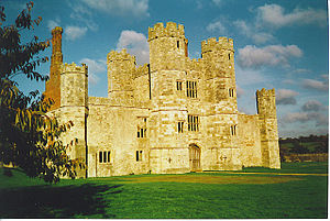 Titchfield Abbey -  Wriothesley's gatehouse - a vital symbol of seigneurial power for an early 16th-century courtier's house, cuts through the nave of the Premonstratensian canons' church, seen left and right of the tower. The choir, transepts and altar - now lost - were on the right of the picture