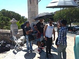 Ism (film) - Nandamuri Kalyan Ram and Vennela Kishore filming in Valencia.