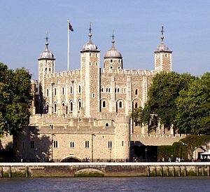 A keep seen from a river, rising behind a gate. The keep is large, square, and has four corner towers, three square and one round, all topped by lead cupolas
