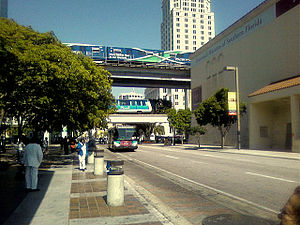 Transportation in South Florida - The three main Miami-Dade Transit-operated systems (Metrobus, Metromover, and Metrorail) at Government Center station in downtown Miami. Not pictured is STS paratransit.