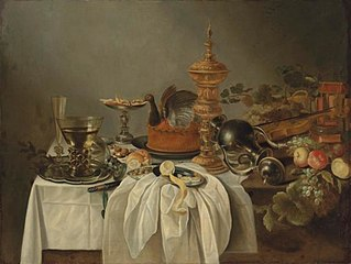 Still life with cake and gilded eel