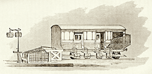 Travelling Post Office - A TPO, circa 1890, showing the equipment used for transferring the mail bags to and from the train whilst it was travelling at full speed