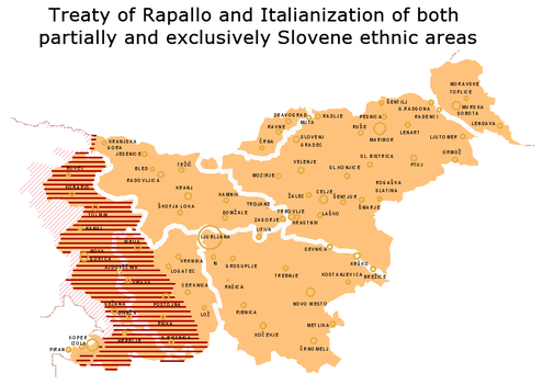 The map showing the present territory of Slovenia, with traditional regional boundaries; the Slovene-speaking areas annexed by Italy after WWI are shown in stripes Treaty of Rapallo.png