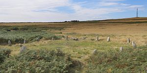 Tregeseal East stone circle - Tregeseal East stone circle from the east