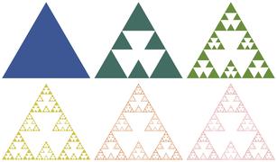 Triangle analog of cross Menger fractal.png