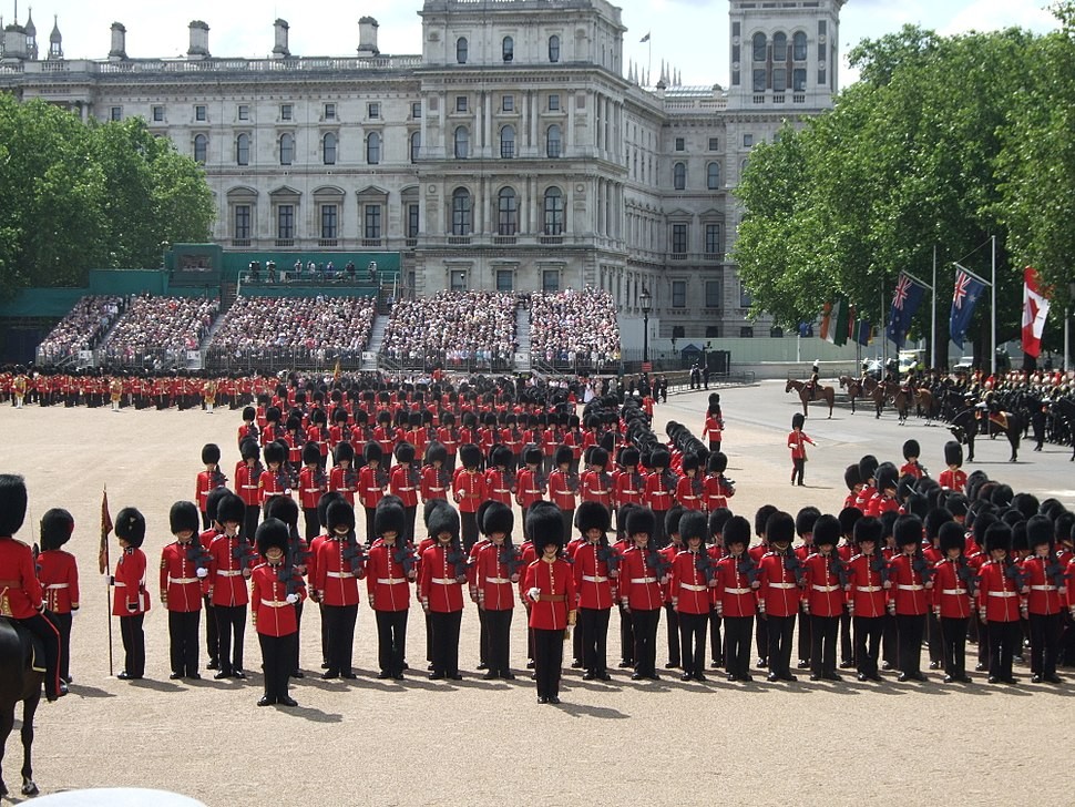Trooping the Colour form march past