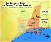Troyville and Baytown cultures map HRoe 2011