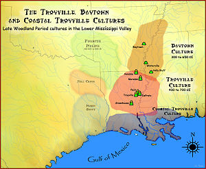 History of Louisiana - Map showing the geographic extent of the Baytown, Coastal Troyville and Troyville cultures