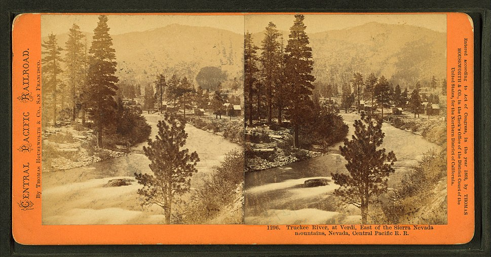 Truckee River at Verdi, east of the Sierra Nevada mountains, Nevada, Central Pacific R.R, by Thomas Houseworth %26 Co.