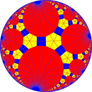 Truncated triapeirogonal tiling - Truncated triapeirogonal tiling with mirrors