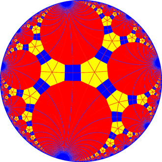 Truncated triapeirogonal tiling - Truncated triapeirogonal tiling with mirrors