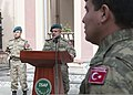 Turkish National Police Col. Elvon Celep, center, speaks to Turkish service members during a Republic Day ceremony at the International Security Assistance Force headquarters in Kabul, Afghanistan, Oct. 29 131029-Z-CP585-025.jpg