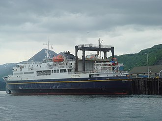 Kodiak, Alaska - The ferryboat M/V Tustamena is part of the Alaska Marine Highway. It can carry 210 passengers and serves Kodiak, Homer, Whittier and the Aleutians as far as Dutch Harbor.