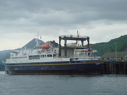 The MV Tustumena (named after Tustumena Glacier) is one of the state's many ferries, providing service between the Kenai Peninsula, Kodiak Island and the Aleutian Chain. Tustumena, Alaska Marine Highway.jpg