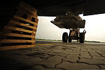 U.S. Air Force Tech Sgt. Adam Nixon, a C-130H Hercules loadmaster assigned to the 746th Expeditionary Airlift Squadron, directs a forklift technician as he loads cargo at Pakistan Air Force Base Chaklala 100822-F-KV470-131.jpg