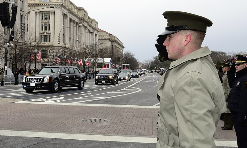 File:U.S. Marine Corps Pfc. Connor Brown salutes as the presidential motorcade drives by en route to the U.S. Capitol for the 57th Presidential Inauguration 130121-A-IA524-054.jpg