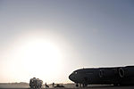 U.S. Marines assigned to Marine Medium Tiltrotor Squadron 266 unload their gear from a C-17A Globemaster III aircraft assigned to Joint Base Charleston, S.C., Aug. 23, 2010, at Camp Bastion, Afghanistan 100823-F-RR679-098.jpg