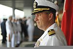 U.S. Navy Capt. Will Pennington, commanding officer of the amphibious command ship USS Blue Ridge (LCC 19), awaits the arrival of a distinguished visitor aboard the ship's quarterdeck in Hakata, Japan, Aug. 10 120810-N-QI421-494.jpg