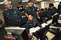U.S. Navy Petty Officer 2nd Class Gutierrez, second from left, works on a computer while responding to a simulated 6.8 magnitude earthquake as part of exercise Citadel Rumble 2012 in the Emergency Operations 120807-N-IA840-057.jpg