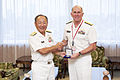 U.S. Navy Vice Adm. Matthew L. Nathan, right, U.S. Navy surgeon general and chief of the Bureau of Medicine and Surgery, and Japanese navy Adm. Katsutoshi Kawano, chief of staff of the Japanese Maritime 130723-N-YA302-029.jpg