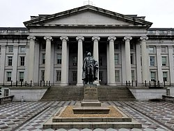 U.S. Treasury Building and Albert Gallatin Statue.jpg