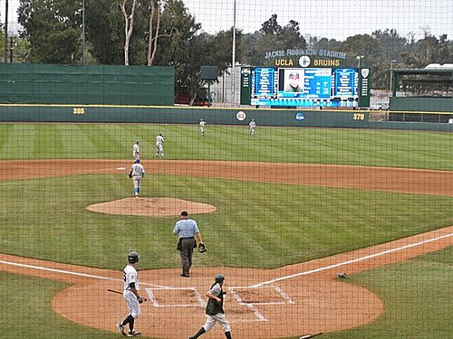 The Bruins playing the L.A. Regional on June 1, 2013, in front of the new video board, steps away from winning the National Championship UCLA baseball 2013.jpg