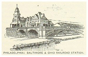 Baltimore & Ohio Railroad Station, Philadelphia - Image: US PA(1891) p 741 PHILADELPHIA, BALTIMORE & OHIO RAILROAD STATION