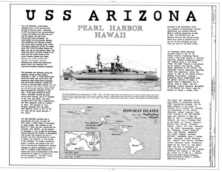 File:USS Arizona, Submerged off Ford Island, Pearl Harbor, Honolulu, Honolulu County, HI HAER HI,2-HONLU,31- (sheet 1 of 4).tif