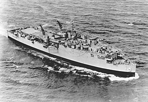 USS Ashland (LSD-1) - USS Ashland (LSD-1) underway off Cape Henry, Virginia, 20 May 1953.