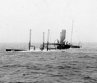 USS Hector (AC-7) - After part of the ship, photographed from her forward part, some time after she was wrecked off the U.S. Atlantic Coast on 14 July 1916.