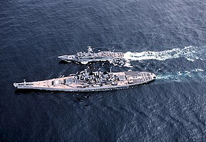 English: A high angle port view of the battles...
