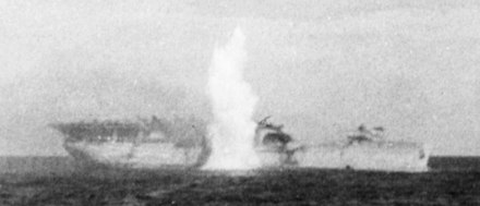 Langley scuttled via torpedo on 27 February 1942 off Java USS Langley (AV-3) is hit by torpedo on 27 February 1942 (cropped).jpg