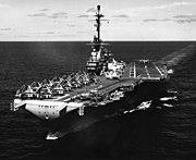 USS Lexington (CVA-16) underway at sea on 16 August 1958