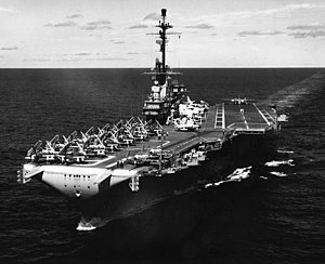 USS Lexington (CV-16) - USS Lexington after her SCB-125 conversion as an attack carrier, 1958