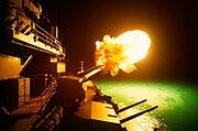 USS Missouri firing during Desert Storm, 6 Feb 1991