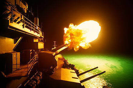 Missouri firing her 16-inch guns during Desert Storm, 6 February 1991. USS Missouri firing during Desert Storm, 6 Feb 1991.jpg